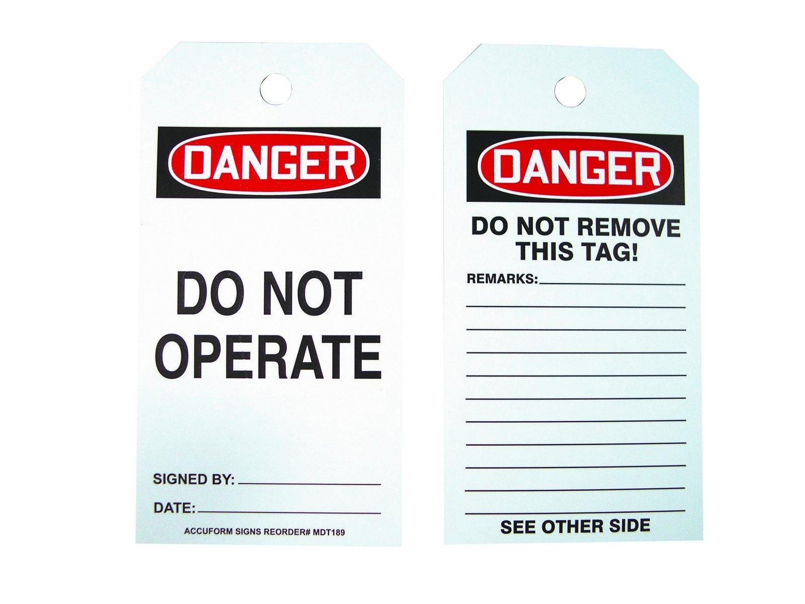 Lockout Tags, Danger Do Not Operate