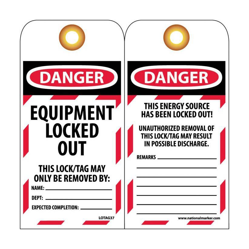 Lockout Tags, Equipment Locked Out
