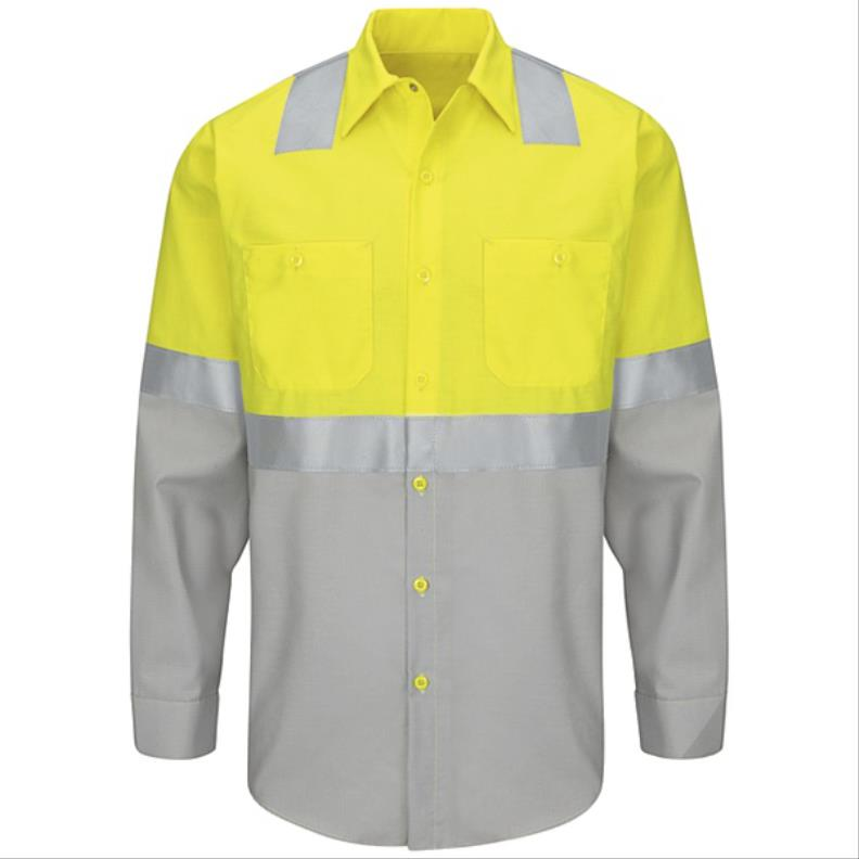RedKap® Hi-Viz, Long Sleeve, Ripstop Work Shirt, ANSI Type R Class 2