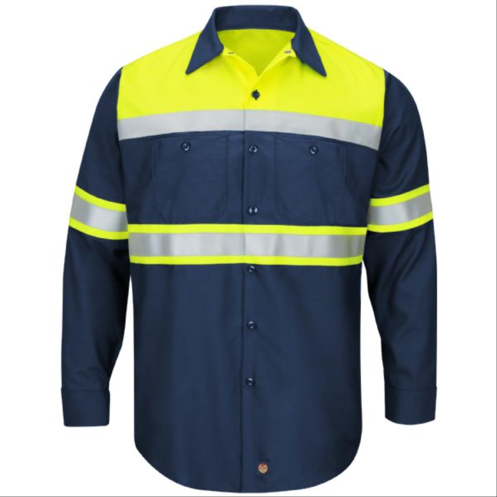 RedKap® Hi-Viz Colorblock, Long Sleeve, Ripstop Work Shirt, Type O Class 1