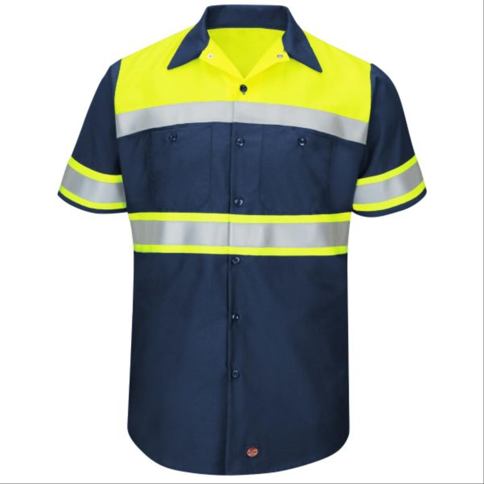 RedKap® Hi-Viz Colorblock, Short Sleeve, Ripstop Work Shirt, Type O Class 1