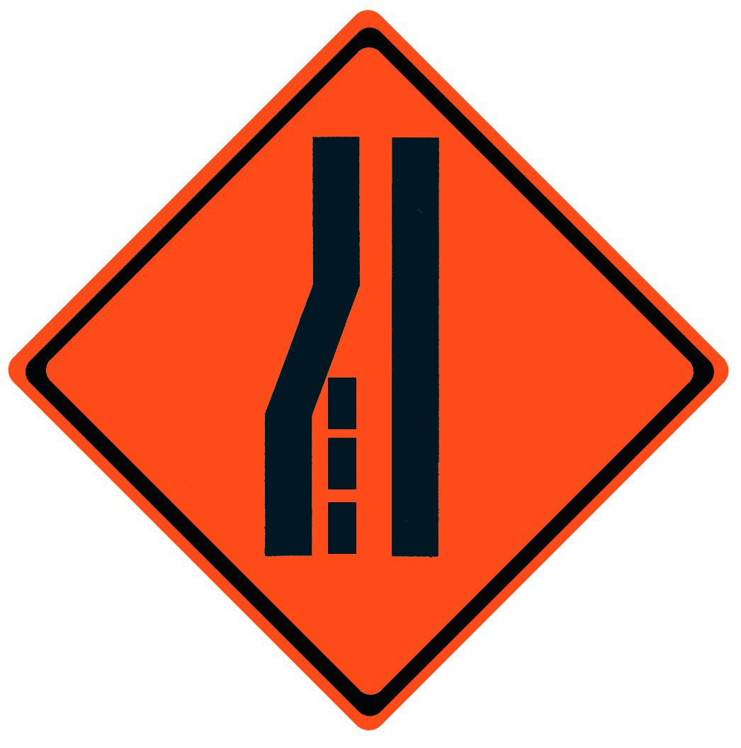 Merge Right Symbol Roll Up Work Zone Signs