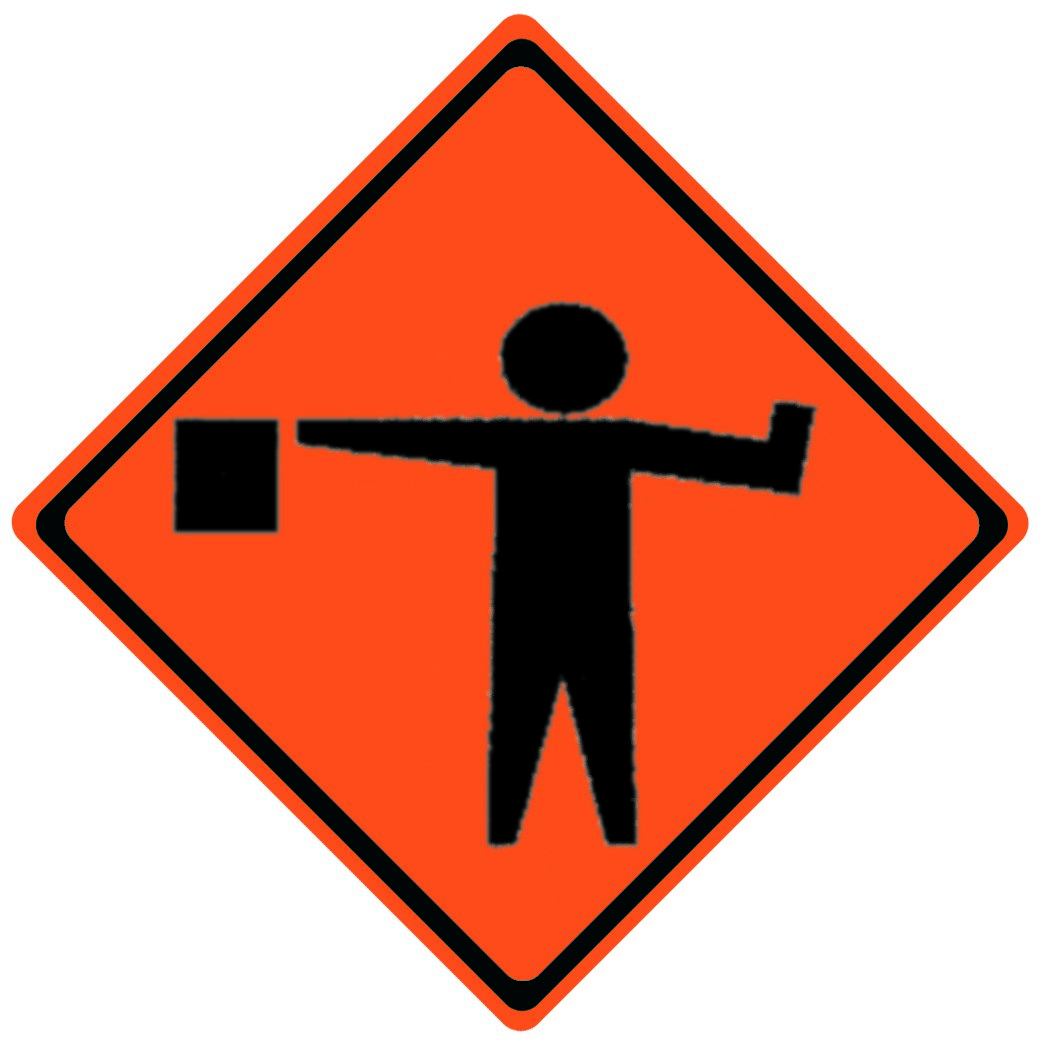 Flagman Symbol Roll Up Work Zone Signs