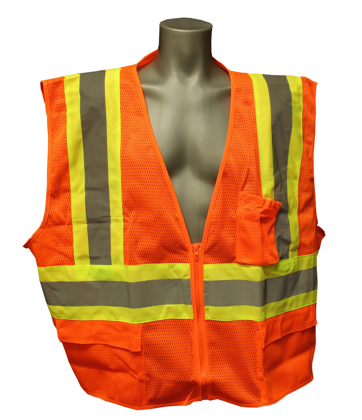 Two Tone Safety Vest, Class 2, Zipper Front, Orange
