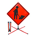 Work zone traffic control signs to provide a safe work area for workers within the roadway, while facilitating the safe and orderly flow of all road vehicles.
