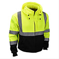 Be seen in warm hi-vis ANSI sweatshirts.  Available with black bottom, removable hoods and zipper front closures.  Ask about custom logo options.